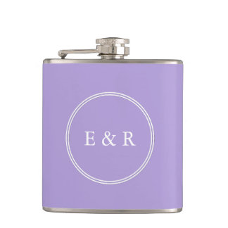 Light Chalky Pastel Purple Wedding Party Set Flasks