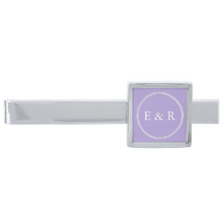 Light Chalky Pastel Purple Wedding Party Set Silver Finish Tie Bar