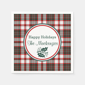 Light Christmas Plaid Pattern Personzlied Paper Napkins