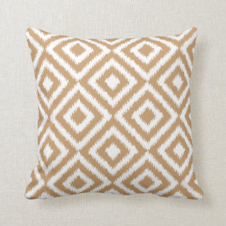 Light Coffee Brown Ikat Square Mosaic Pattern Throw Pillow