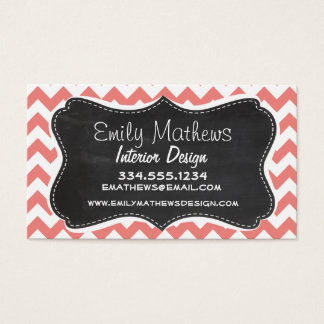 Light Coral Chevron Stripes; Chalkboard look Business Card