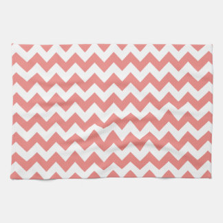 Light Coral Chevron Stripes Kitchen Towel