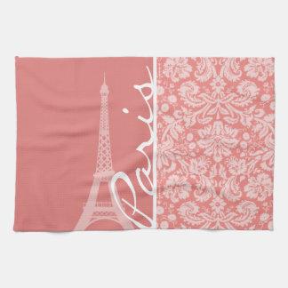 Light Coral Damask; Paris; Eiffel Tower Kitchen Towel