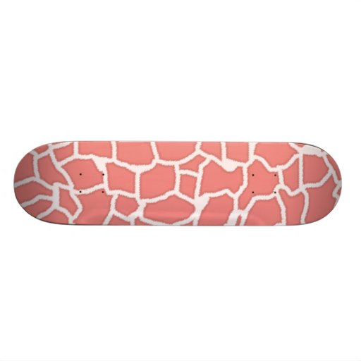 Light Coral Giraffe Animal Print Skate Deck