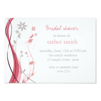 Light coral & grey floral charm invitation