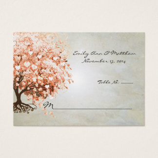 Light Coral Heart Leaf Tree Table Place Cards