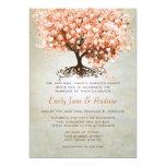 Light Coral Heart Leaf Tree Wedding Invites