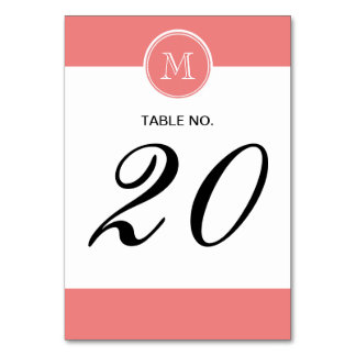 Light Coral High End Colored Monogram Card