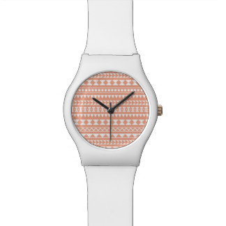 Light Coral Tribal Aztec Pattern Watches