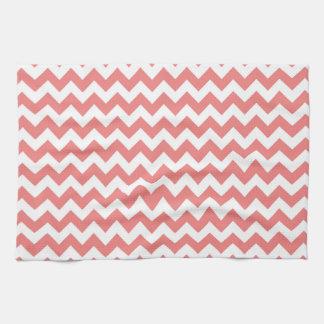 Light Coral White Chevron Zig-Zag Pattern Hand Towels