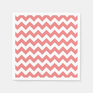 Light Coral White Chevron Zig-Zag Pattern Paper Napkins