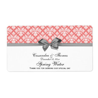 Light Coral, White Damask Water Label, Gray Bow Shipping Label