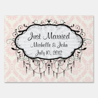 light cream and pink damask sign