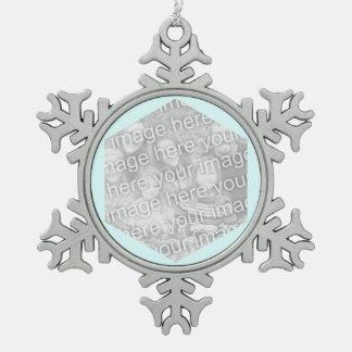 Light Cyan Hexagon Photo Border Snowflake Pewter Christmas Ornament
