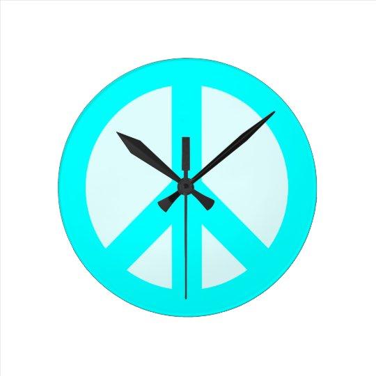 Light Cyan Peace Sign Wall Clock