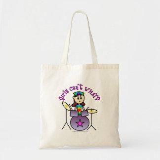 Light Drummer Girl Tote Bags
