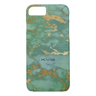 Light Emerald Green & Gold Image Of Marble Texture iPhone 8/7 Case
