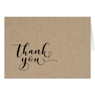 Light Faux Kraft Paper Style SimpleThank You 2 Card