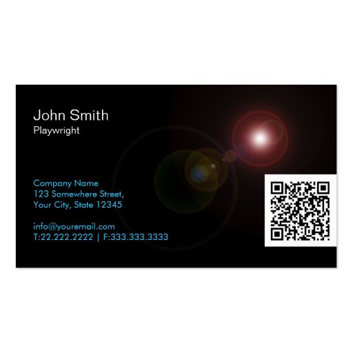Light Flares QR Playwright Business Card