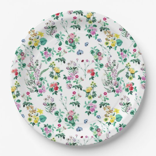 Light Floral Pattern 9 Inch Paper Plate