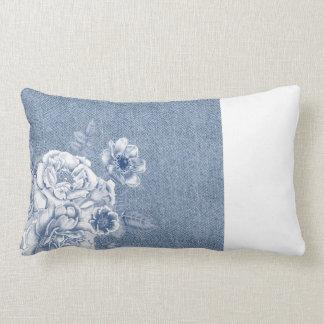Light Flowers Denim Pillow