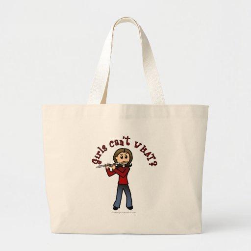 Light Flute Player Girl Canvas Bags
