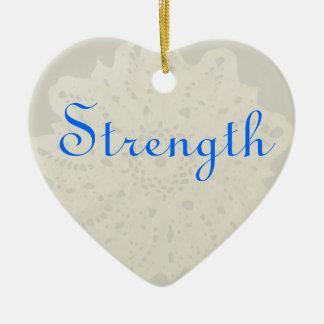 Light French Grey Beige Cream Strength Heart Ceramic Ornament