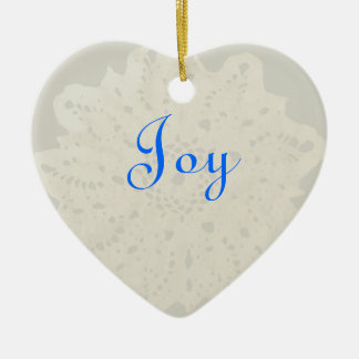 Light French Grey Character Holiday Joy Heart Christmas Tree Ornament