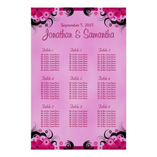 Light Fuchsia Floral Wedding 9 Table Seating Chart Poster