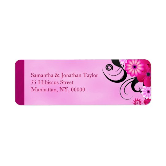 Light Fuchsia Floral Wedding Return Address Labels