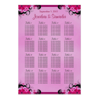 Light Fuschia 16 Wedding Table Seating Charts Poster