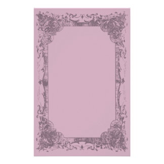 Light Fuschia Romantic French Flourish Stationery