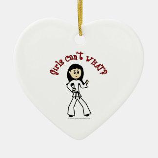 Light Girl Martial Artist Ceramic Heart Ornament