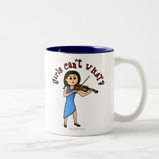Light Girl Playing Violin Two-Tone Coffee Mug