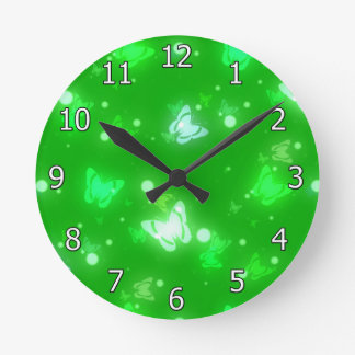 Light Glow Butterflies Bright Green Design Wall Clocks