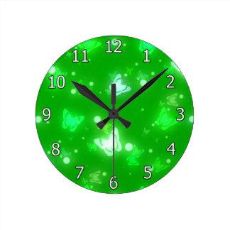 Light Glow Butterflies Bright Green Design Wall Clocks
