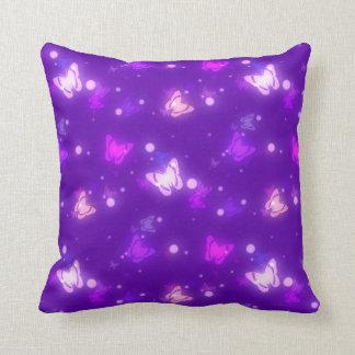 Light Glow Butterflies Violet Purple Design Pillows