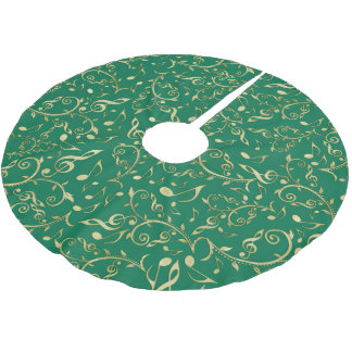 Light Gold Floral Music Notes On Green Tree Skirt