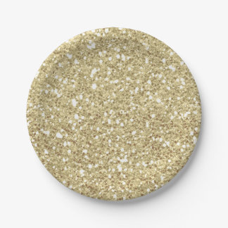 Light Gold Sparkle Glitter Glam Custom Party Paper Plate
