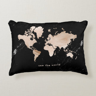 Light Gold World Map on Black Marble Accent Pillow