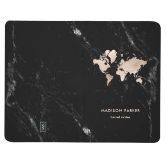 Light Gold World Map on Black Marble Journal