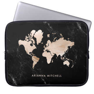 Light Gold World Map on Black Marble Laptop Sleeve