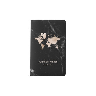 Light Gold World Map on Black Marble Pocket Moleskine Notebook