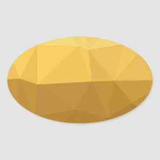 Light Goldenrod Abstract Low Polygon Background Oval Sticker