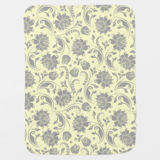 Light Gray And Beige Floral Damasks Receiving Blankets