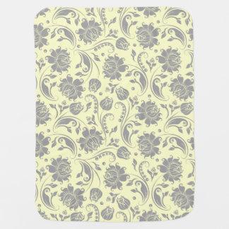 Light Gray And Beige Floral Damasks Stroller Blanket