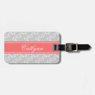 Light Gray and Coral Divona Print Luggage Tag