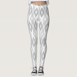 Light Gray and White Grunge Harlequin Pattern Leggings