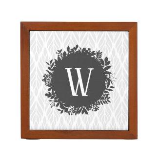 Light Gray and White Leafy Pattern Monogram Desk Organizer