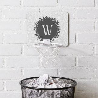 Light Gray and White Leafy Pattern Monogram Mini Basketball Hoop